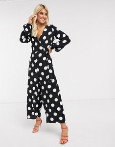 Read more about Asos design wrap tie jumpsuit in mono spot print-multi