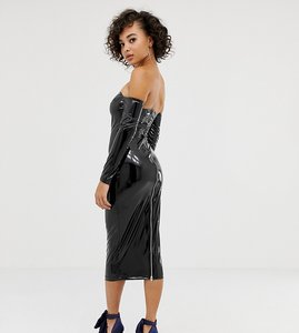 Read more about Asos design x laquan smith off shoulder midi dress in vinyl-black
