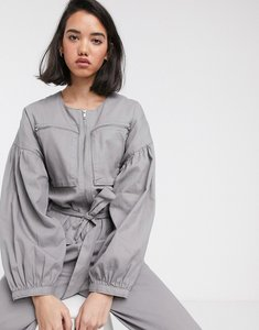 Read more about Asos design zip front boiler jumpsuit with slouchy puff sleeve-green