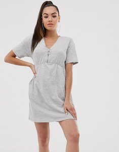 Read more about Asos design zip front smock dress with pockets-grey