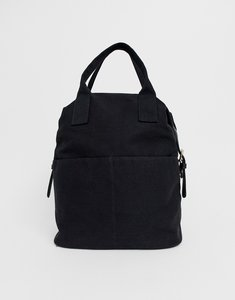 Read more about Asos design zip over canvas backpack with double handle-black