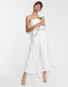 Read more about Asos edition bandeau wedding jumpsuit with bow detail-white