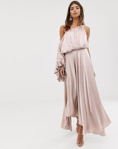 Read more about Asos edition blouson one shoulder dress in satin-pink