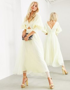 Read more about Asos edition blouson sleeve midi dress in organza check-yellow