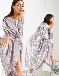 Read more about Asos edition blouson sleeve midi dress in sequin-purple
