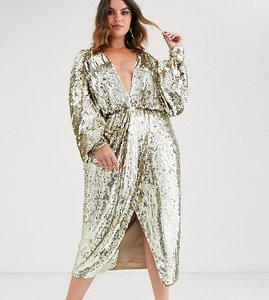 Read more about Asos edition curve batwing midi dress in sequin-gold