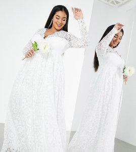 Read more about Asos edition curve penny v neck lace wedding dress in ivory-white