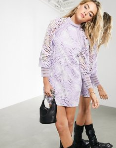 Read more about Asos edition cutwork embroidered palm mini dress with puff sleeve-purple