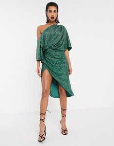 Read more about Asos edition drape asymmetric midi dress in sequin-green