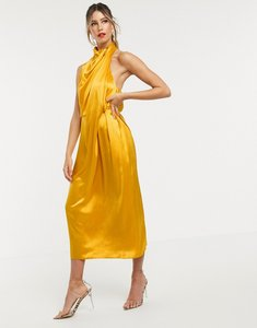 Read more about Asos edition drape midi dress with open back-gold