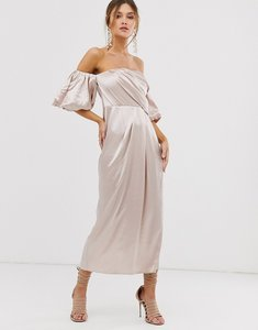 Read more about Asos edition drape off shoulder midi dress in satin-cream