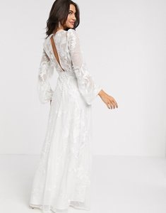 Read more about Asos edition embroidered wedding dress blouson sleeve-white