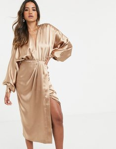 Read more about Asos edition extreme sleeve plunge midi dress in satin-gold