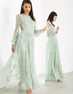 Read more about Asos edition floral embellished maxi dress with cut out back-green