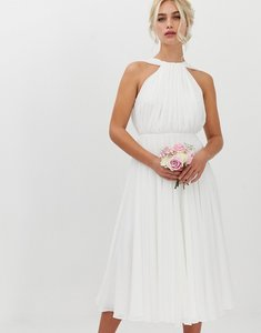 Read more about Asos edition halter midi wedding dress with v back-white