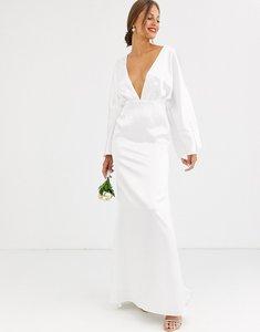 Read more about Asos edition kimono sleeve wedding dress in satin-white