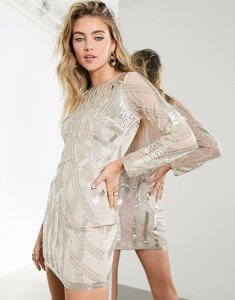 Read more about Asos edition linear beaded mini dress with cutwork detail-pink