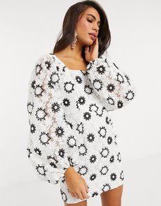 Read more about Asos edition mini dress in mono embroidered organza with blouson sleeve-multi