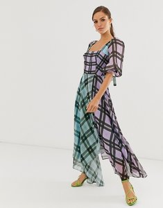 Read more about Asos edition off shoulder midi dress in mixed check print-multi