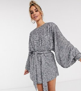 Read more about Asos edition oversized blouson sleeve mini dress in mixed sequin-grey