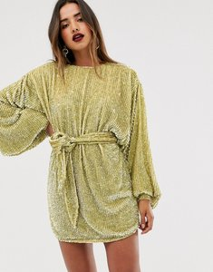Read more about Asos edition oversized blouson sleeve mini dress in sequin-green