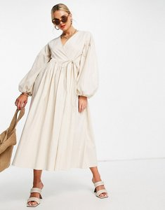 Read more about Asos edition oversized wrap smock dress with blouson sleeve in cream-white