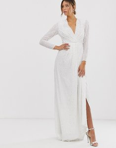 Read more about Asos edition pleated plunge wrap wedding dress in sequin-white