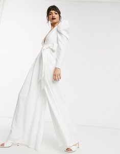 Read more about Asos edition plunge wide leg jumpsuit with open back-white
