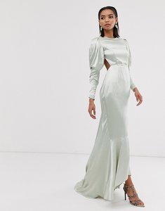 Read more about Asos edition satin fishtail maxi dress with dramatic sleeve-green