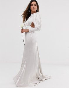 Read more about Asos edition satin fishtail wedding dress with dramatic sleeve-white