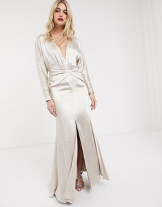 Read more about Asos edition satin maxi dress with blouson sleeve and back detail-cream