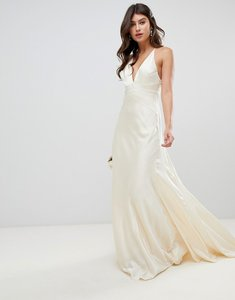 Read more about Asos edition satin panelled wedding dress with fishtail-cream