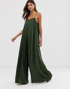 Read more about Asos edition satin pleat front jumpsuit with extreme wide leg-green