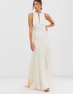 Read more about Asos edition satin wedding dress with embellished trim-white