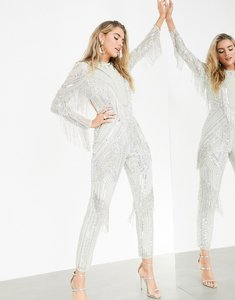 Read more about Asos edition sequin and pearl jumpsuit with fringing-grey