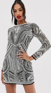 Read more about Asos edition sequin and pearl mini bodycon dress with cut out back-black