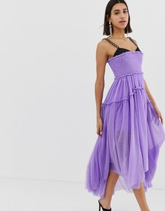 Read more about Asos edition tulle dip back maxi dress with chain straps-purple
