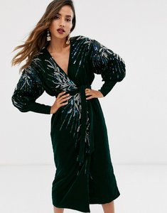 Read more about Asos edition velvet wrap midi dress with embellished placement-green
