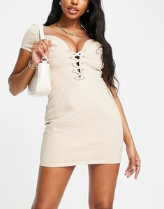 Read more about Asos luxe hourglass sexy plunge lace up mini dress in camel-brown