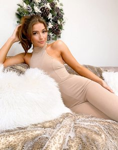 Read more about Asos luxe lounge racer neck jumpsuit in stone-neutral