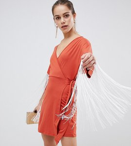 Read more about Asos petite kimono mini wrap dress with fringing-red