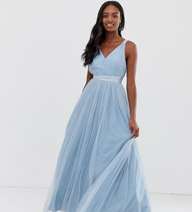 Read more about Asos premium tall tulle maxi prom dress with ribbon ties-blue