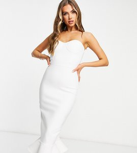 Read more about Band of stars bandage bandeau midi pencil dress with fluted hem detail in white