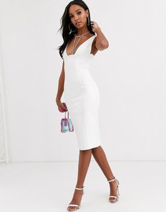 Read more about Band of stars extreme bandage plunge front midi dress in ivory-white