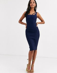 Read more about Band of stars extreme bandage strappy bust panelled midi dress in navy-blue