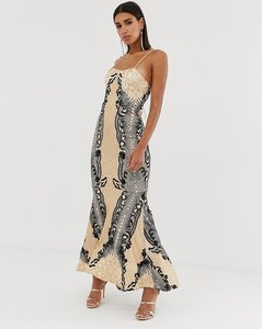 Read more about Bariano embellished patterned sequin fishtail maxi dress with strappy back in mutli-multi