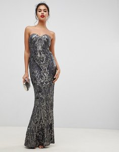 Read more about Bariano embellished patterned sequin sweetheart bandeau maxi dress in charcoal-grey