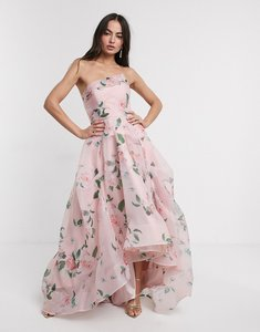 Read more about Bariano full maxi dress with organza bust detail in multi floral