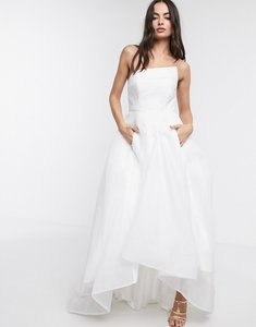 Read more about Bariano full maxi dress with organza bust detail in white