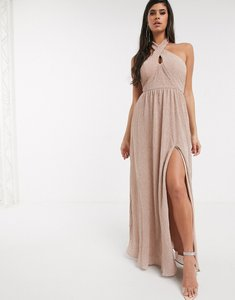 Read more about Bariano shimmer plisse halter neck maxi dress in caramel-gold